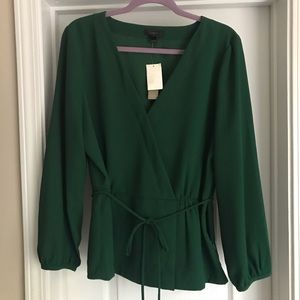 NWT JCrew green crepe, wrap top. Size 16 Tall